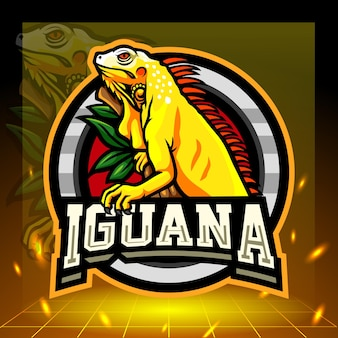Mascote iguana amarela Vetor Premium