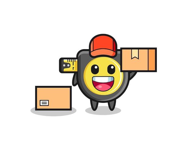 Mascote ilustração de fita métrica como um correio, design fofo