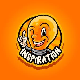 Mascote lâmpada de inspiração
