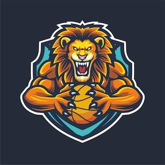 Mascote lion esport logo para basquete