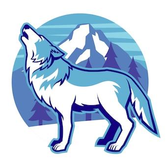 Mascote lobo uivando