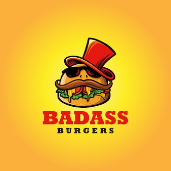 Mascote logo badass burger fast food