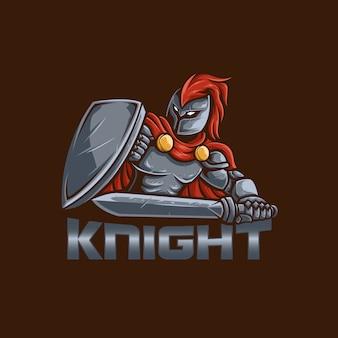 Mascote logo cavaleiro com fundo