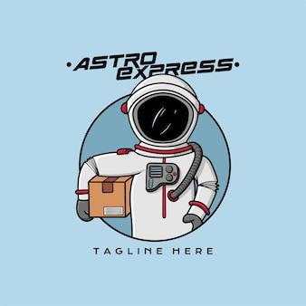 Mascote logo express courier astronout frete grátis vector