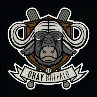 Mascote logotipo beisebol cinza búfalo