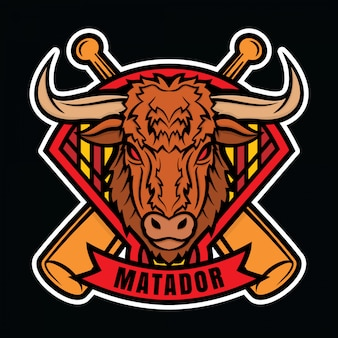 Mascote logotipo beisebol matador
