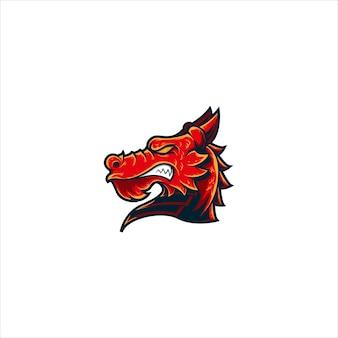 Mascote logotipo cabeça dragão