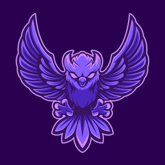 Mascote logotipo coruja com purpel colorido