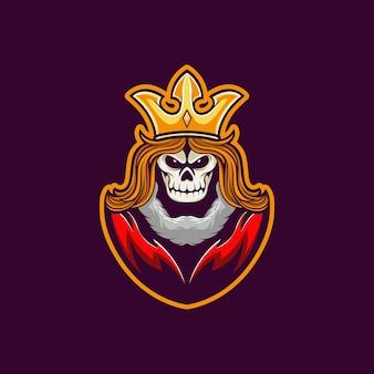 Mascote logotipo crânio rei