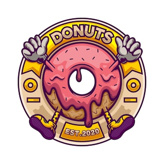 Mascote logotipo donut no crachá do círculo