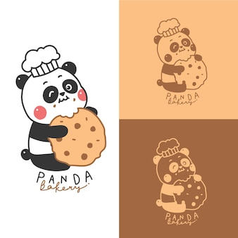 Mascote logotipo dos desenhos animados panda bonito para loja de padaria.