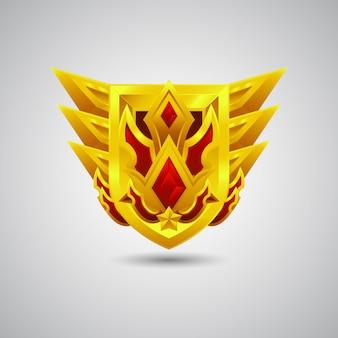 Mascote logotipo emblema ouro guarda escudo