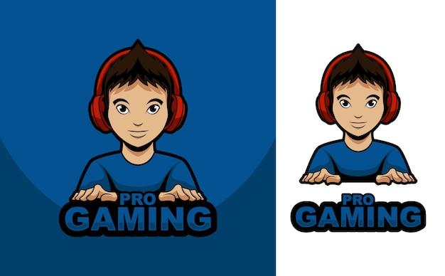 Mascote logotipo homem jogo streamer com fone de ouvido