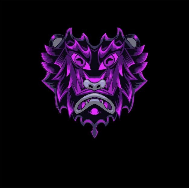 Mascote macaco demônio jogo logotipo