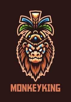 Mascote monkey king do logotipo da equipe esport e esportiva
