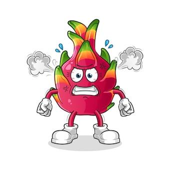 Mascote muito irritado de pimenta. desenho animado