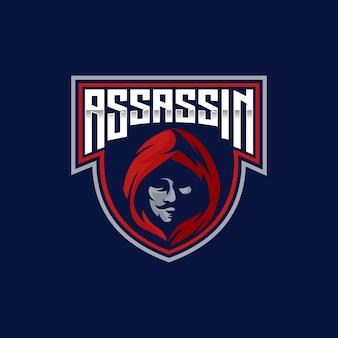 Mascote ninja assassin esport e emblema do logotipo esportivo