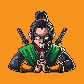 Mascote ninja isolado em amarelo