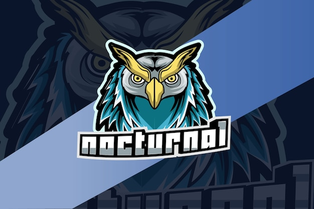 Mascote noturno da coruja-chefe para esportes e logotipo de esportes isolado no escuro