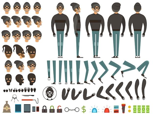 Mascote ou design de personagens de bandido.