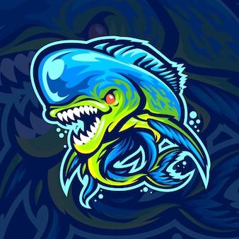 Mascote peixe mahi mahi