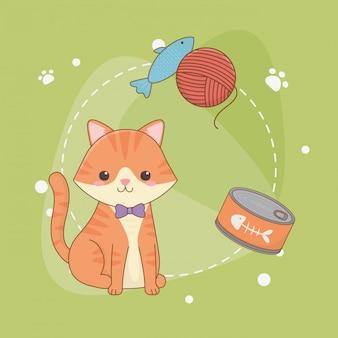 Mascote pequeno bonito do gato com lata do atum e rolo de lãs