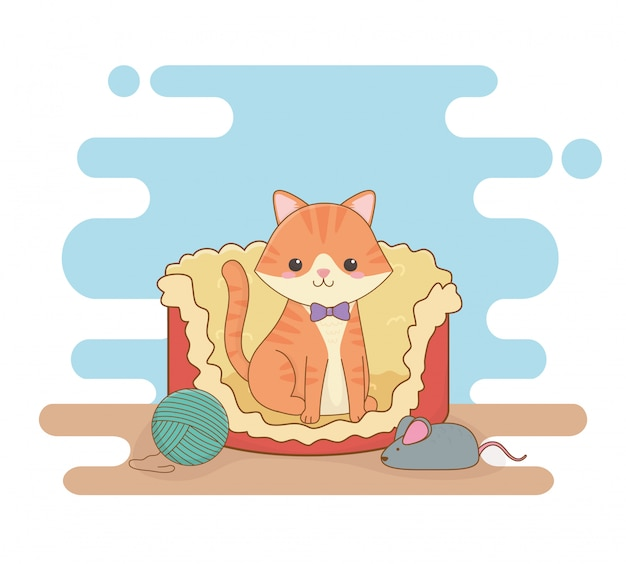 Mascote pequeno bonito do gato na cama com rolo e rato de lãs