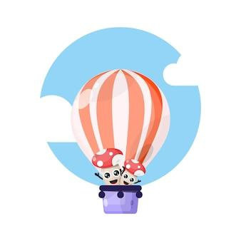 Mascote personagem bonito balão de ar quente cogumelo