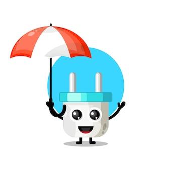Mascote personagem bonito guarda-chuva com tomada elétrica