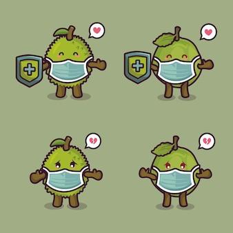 Mascote personagem de frutas fofas usando máscara médica