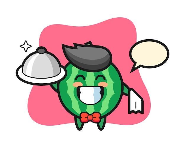 Mascote personagem de melancia como garçons