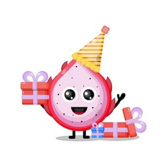 Mascote personagem fofa de aniversário de fruta do dragão