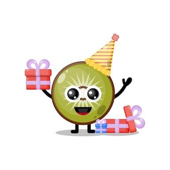Mascote personagem fofa de aniversário de kiwi