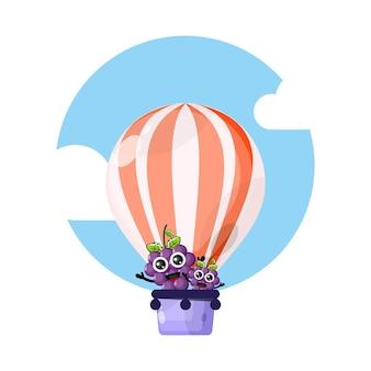 Mascote personagem fofa de balão de ar quente de uva