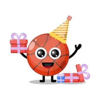 Mascote personagem fofa de basquete de aniversário