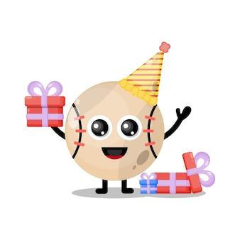 Mascote personagem fofa de beisebol de aniversário