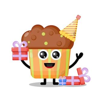 Mascote personagem fofa de cupcake de aniversário