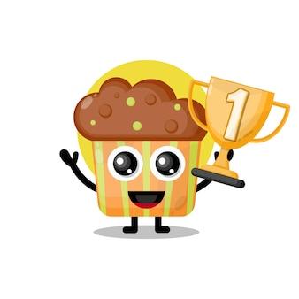 Mascote personagem fofa de cupcake de troféu