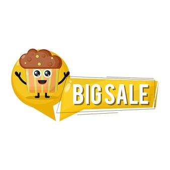 Mascote personagem fofa de cupcake em grande promoção