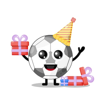 Mascote personagem fofa de futebol de aniversário