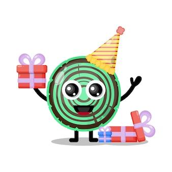 Mascote personagem fofa de madeira de aniversário