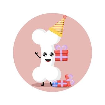 Mascote personagem fofa de osso de aniversário