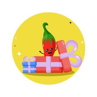 Mascote personagem fofa de presente de aniversário
