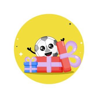 Mascote personagem fofa de presente de futebol