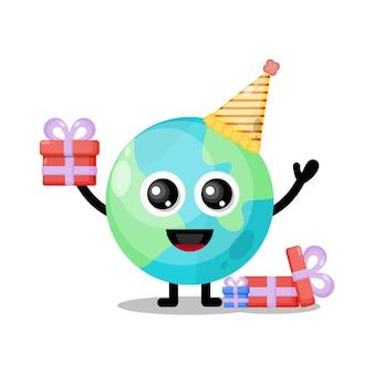 Mascote personagem fofa do aniversário da terra