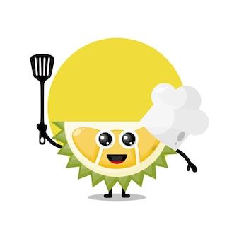 Mascote personagem fofa do chef durian