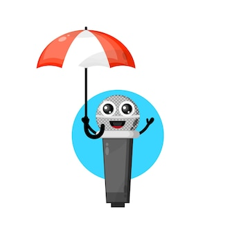 Mascote personagem fofa do microfone guarda-chuva