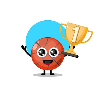 Mascote personagem fofa do troféu de basquete