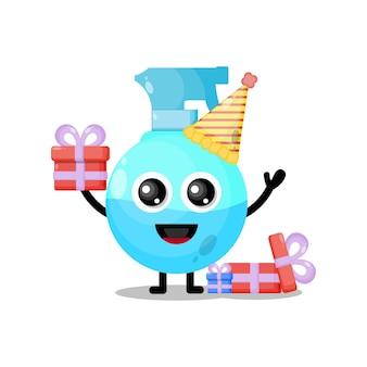 Mascote personagem fofa em spray de aniversário