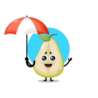 Mascote personagem fofa guarda-chuva de pêra